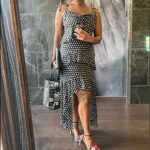 Polka dot high low dress with tie shoulder